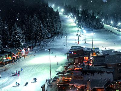 night skiing in borovets
